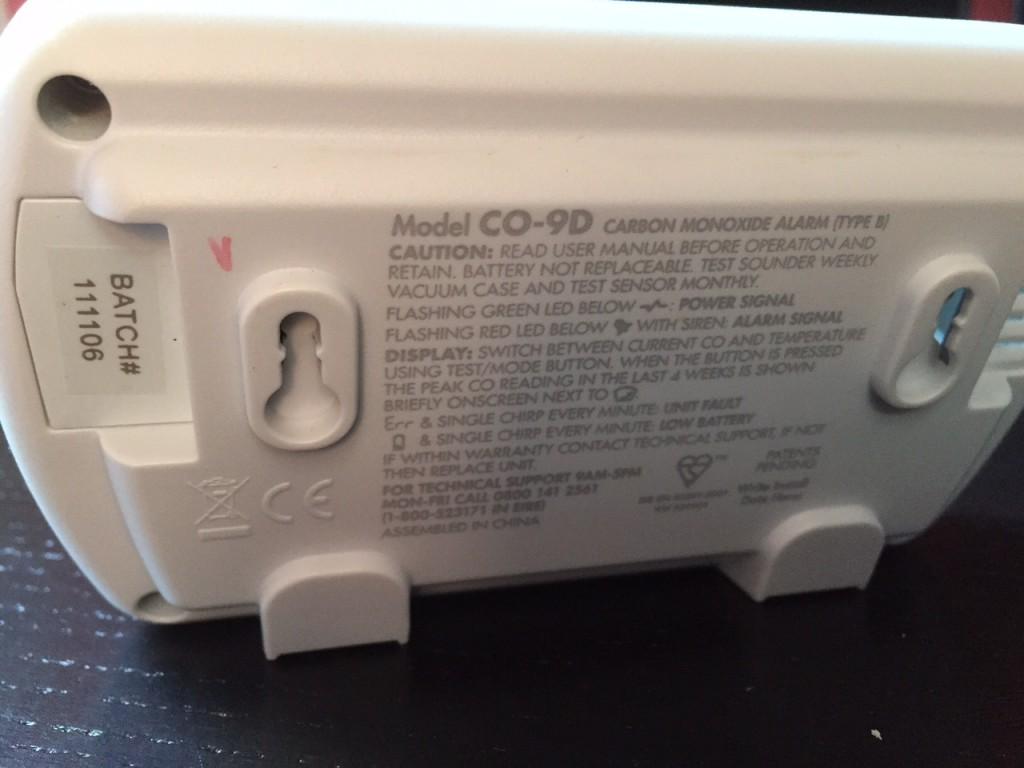 Rückseite des Fireangel CO9D CO-Melder